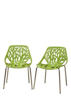 Plastic Dining Chair - Green - Set of 2