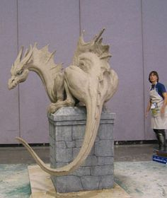Conjose 2002 Dragon tall long cm tall, 488 cm long), clay on steel and aluminum armature, 2002 Sculpted at Worldcon, San Jose CA This sculpture won the coveted Chesley award in 2003 Fantasy Dragon, Dragon Art, Fantasy Art, Clay Dragon, Dragon Head, Dragon Crafts, Small Sculptures, Animal Sculptures, Sculpture Art