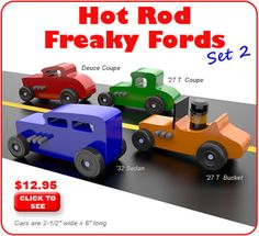 Hot Rod Freaky Fords Wood Toy Plan Set
