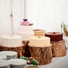 Weddbook is a content discovery engine mostly specialized on wedding concept. You can collect images, videos or articles you discovered organize them, add your own ideas to your collections and share with other people - Weddbook ♥ Rustic Wedding Cakes Ideas. Log cake stand. diy craft #diy #craft