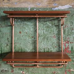 Copper Pipe Shelving unit in an Industrial / Urban / Vintage style. 2 Tier Hand Crafted Shelves with African Sapele Hardwood. Copper Pipe Shelves, Copper Wall, Pipe Shelving, Craft Shelves, Wood Shelves, Handmade Shelving, 15mm Copper Pipe, Floating Platform, Shopping