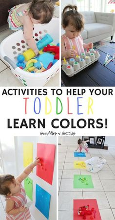 Fun Activities to Help Your Toddler Learn Colors! Fun Activities to Help Your Toddler Learn Colors!,Kids Activities to help your toddler learn their colors! A few of these are great for fine motor skills. Activities For 1 Year Olds, Toddler Learning Activities, Infant Activities, Preschool Activities, Children Activities, Color Activities For Toddlers, Teaching Toddlers Colors, Montessori Toddler, Teaching A Toddler