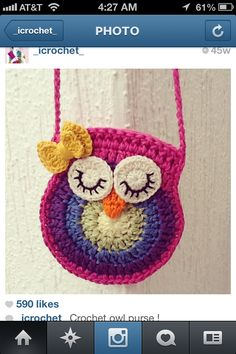 Cute crochet owl purse