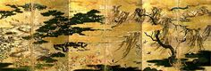 TOKYO NATIONAL MUSEUM - Collections The TNM Collection painting  'Pine grove by the Seashore'.  106.0x312.5 each. Muromachi Period, 16th century.
