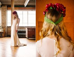 Red floral crown inspiration |  Photography by http://www.alextentersphotography.co.uk/
