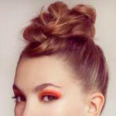 updo, bun on top of the head