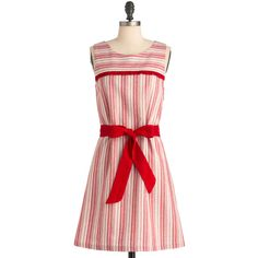 Strawberry Sunday Dress ($70) ❤ liked on Polyvore featuring dresses, vestidos, stripes, red, short sleeve, red short sleeve dress, short sleeved striped dress, short sleeve dress, sash belt and red striped dress