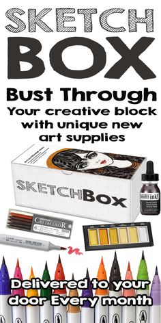 Every month we deliver a new box of unique art supplies for you to experiment with.  Plans start at $25.