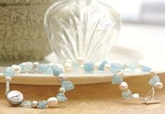 Projects - Single-Strand Necklace with Aquamarine Gemstone Beads, Pearls and Metal Beads - Fire Mountain Gems and Beads