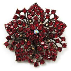 Add a chic finishing touch to your outfit with this glamour Victorian Corsage Flower Brooch. The antique gold tone brooch is decorated with an eye-catching combination of red and burgundy red crystals set in the shape of a beautiful flower. Antique Brooches, Antique Gold, Antique Jewelry, Jewelry Armoire, Hijab Pins, Flower Brooch, Brooch Pin, Brooch Bouquets, Saree Brooch