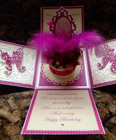 Birthday cake exploding box card Sharon Reynolds handmade cards