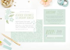 Lively Blossoms Wedding Invitations Blue by Two if by Sea Studios on Elli.com