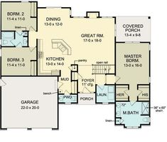 First Floor Plan of Ranch   House Plan 54066. Move garage back, 2 bed/bath in basement. Like the shape of the kitchen, but want to be able to have a window outside in the kitchen. Like the dining area to the side. No need for porch off master.
