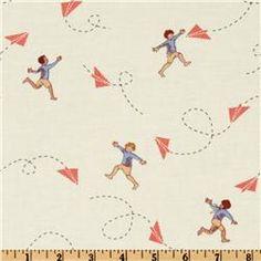 Michael Miller Children at Play Chasing Airplanes Cream - Discount Designer Fabric - Fabric.com