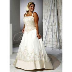 Bridesire - A-line Spaghetti Scoop Sleeveless Chapel Train Satin Plus Size Wedding Dress [ARR6844] - US$189.99 : Bridesire
