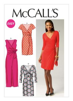 M6884 | Misses' Mock-Wrap Dresses Sewing Pattern | McCall's Patterns