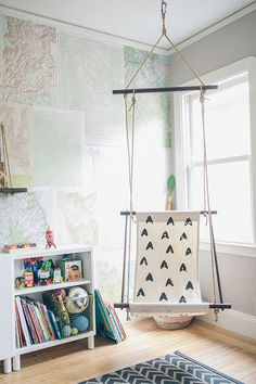 This swing would be great for a boy room or any playrrom. One thatu0027s deep-seated enough for actually lounging or dare we hope reading in. & 217 best Kids Rooms | Boys images on Pinterest | Nursery set up Bed ...