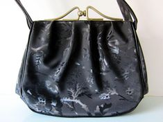 Your place to buy and sell all things handmade Vintage Handbags, Black Handbags, Kelly Bag, Black Satin, Uk Shop, Evening Bags, Rockabilly, 1960s, England