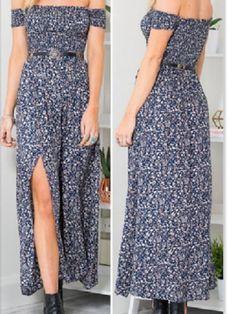 7d252e6a5a8 Blue Off- Shoulder Maxi Dress Off The Shoulder