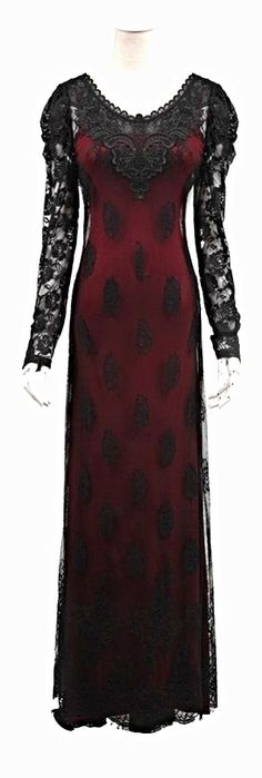 floor length black & bloodred lace gown <3
