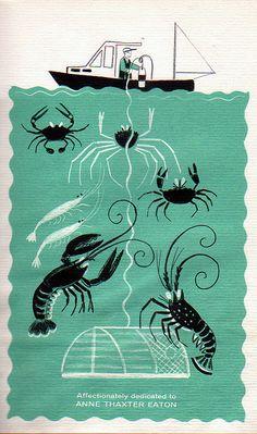 "Dahlov Ipcar, 1961- Crabs, Shrimp & Lobster ""Deep Sea Farmer"", 1961 Alfred A. Knopf, publishers Written & Illustration by Dahlov Ipcar Fisherman trapping crabs, shrimp & lobster"
