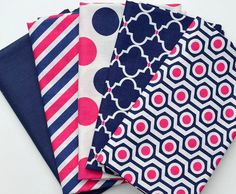 In the Navy - Fabric Bundle - Camelot Fabrics - Jacqueline Savage - Navy, Hot Pink, White - 5 half-yard cuts - Total 2.5 Yards - LAST SET