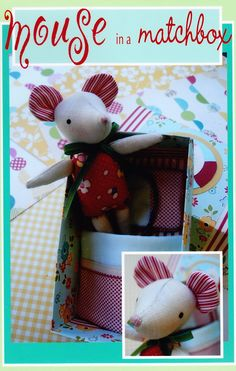This cute pattern for a tiny mouse in a paper matchbox style bed. Mouse measures long Bed measures x x Matchbox Crafts, Matchbox Art, Doll Sewing Patterns, Sewing Toys, Sewing Projects, Craft Projects, Softie Pattern, Felt Mouse, Fabric Patch
