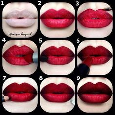 Step by Step Ombre Lip Tutorial   The Guide to Making Instagram Makeup Trends Wearable, check it out at http://makeuptutorials.com/instagram-makeup-tutorials/