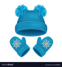 Blue Hat and Mitten Set Winter Accessories Warm Clothing. Hand Crafts For Kids, Paper Clothes, Crochet Towel, Winter Baby Clothes, Winter Knit Hats, Hello Winter, Winter Images, Baby Girl Princess, Bear Art