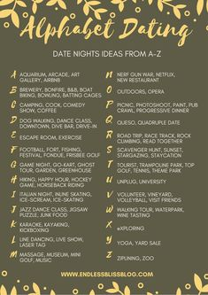 Looking for some ideas for date night? Why not try Alphabet Dating? This post has tons of date night ideas from A-Z so you and your significant other can go on 26 dates, one every other week.