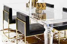 Palm Beach Lucite Dining Table. hollywood regency decor. home decor and interior decorating ideas.