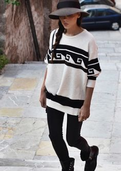 Black and white graphic print sweater
