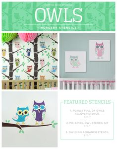 Cutting Edge Stencils shares new nursery wall stencil patterns including these Owl themed designs.  http://www.cuttingedgestencils.com/owl-forest-nursery-wall-pattern-stencil.html?utm_source=JCG&utm_medium=Pinterest&utm_campaign=Forest%20Full%20of%20Owls%20Allover%20Stencil