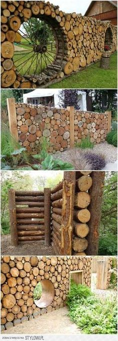 Amazing Shed Plans - Cordwood fences More Now You Can Build ANY Shed In A Weekend Even If You've Zero Woodworking Experience! Start building amazing sheds the easier way with a collection of shed plans! Garden Fencing, Garden Art, Outdoor Projects, Garden Projects, Garden Ideas, Terrace Ideas, Cedar Wood Fence, Log Fence, Wood Fences