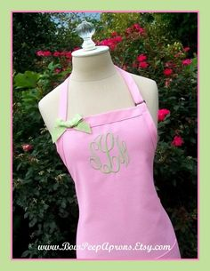 Pink Gourmet Monogrammed Apron - Personalized Chefs Gift Idea Brown Chocolate Ribbon Bakers Unisex Womens Wedding Bridal bridemaids via Etsy