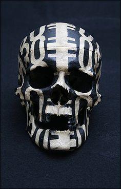 Black and white patterned skull.