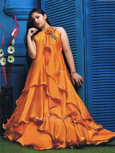 Dark Gold Multi Layered Fairy Gown Ethnic Fashion, Kids Fashion, Kids Gown, Floor Length Gown, Fairy Dress, Big Flowers, Silk Satin, Kids Wear, Scarlet