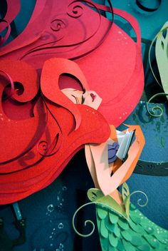 The Little Mermaid  Layered Paper Illustration by Brittney Lee