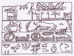 Tavoletta di Hor-Aha che illustra la costruzione di un tempio di Neith nel Delta. In alto a destra sono visibili i due piloni con le bandiere, cui fa riferimento il geroglifico Netjer. Accanto ai piloni, nel centro del cortile del tempio, si vede il simbolo di Neith. Disegno di Sabina Marineo. Historical European Martial Arts, Yesterday And Today, Ancient Egypt, Archaeology, Egyptian, Miniature, Egypt, Historia, Miniatures