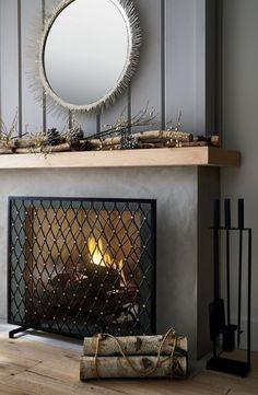 10 Astonishing Useful Tips: Grey Fireplace Farrow Ball fireplace tile home depot.Fireplace With Tv Decor tall fireplace style. Shiplap Fireplace, Concrete Fireplace, Home Fireplace, Living Room With Fireplace, Fireplace Surrounds, Fireplace Design, Fireplace Tools, Fireplace Ideas, Black Fireplace Surround