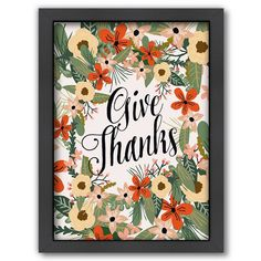 Americanflat ''Give Thanks'' Framed Wall Art, Multicolor
