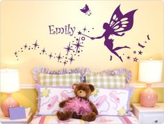 Popular Wandtattoo Kinderzimmer Fee mit Wunschtext