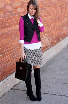 pink sweater white button down houndstooth skirt black leather jacket black boots
