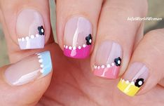 #Colorful #Summer Side #Frenchmanicure With #Flowers