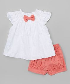 Look at this White & Pink Angel-Sleeve Swing Top & Bloomers - Infant on #zulily today!