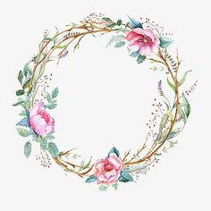 Flowers Png Clip Art Floral Wreaths Ideas For 2019 Watercolor Flower Wreath, Floral Watercolor, Art Watercolour, Painting Flowers, Arte Floral, Flower Frame, Flower Art, Corona Floral, Wreath Drawing