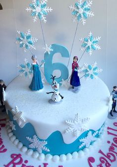 Frozen birthday cake ... Covered in fondant with plastic frozen figurines.  www.smalldelights.net.au: