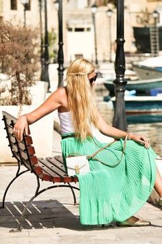 Pleated style paired with a white tank fashion, mint green, colors, long hair, maxis, long skirts, summer outfits, summer clothes, maxi skirts