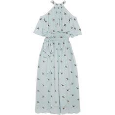Temperley London Starling cold-shoulder embellished chiffon midi dress (€1.390) ❤ liked on Polyvore featuring dresses, blue, blue halter dress, blue chiffon dress, chiffon cocktail dress, halter top and chiffon overlay dress