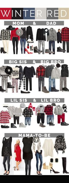 Family portrait outfits for What to wear for your family photos, including mom, dad, big sis Winter Family Pictures, Christmas Pictures Outfits, Family Pics, Family Christmas Photos, Holiday Photos, Family Posing, Holiday Outfits, Mom Family, Winter Photos